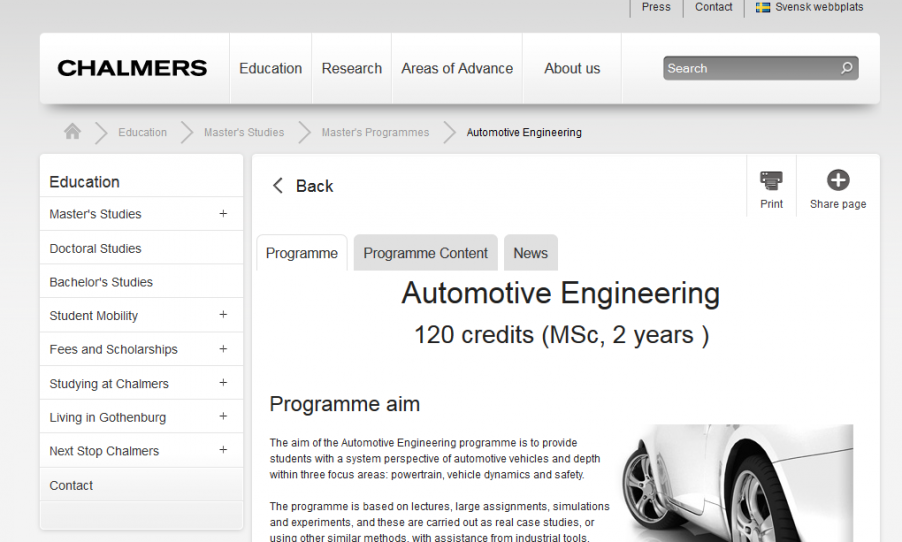 How I Applied To Master S Studies At Chalmers Automotive Engineering Program Study In Sweden The Student Blog