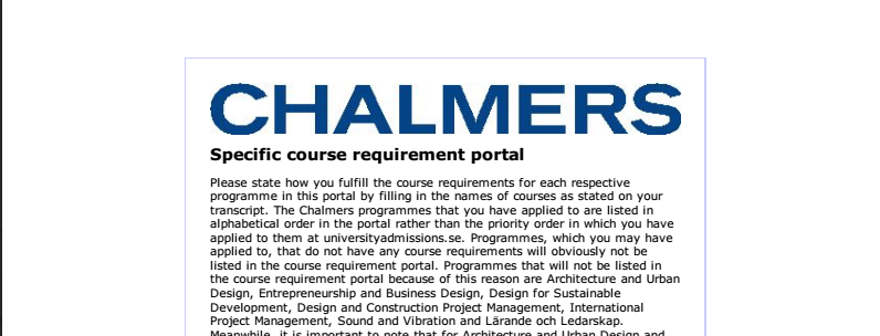chalmersspecificrequirement