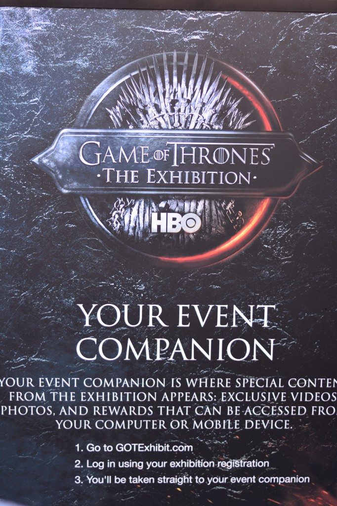 The event companion- your ticket to some nifty interactive features, like getting turned into a white walker, or getting incinerated by a dragon!
