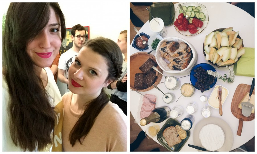Left: It's 7am but we the lipstick is there.  Right: The Champagne-snaps-herring breakfast