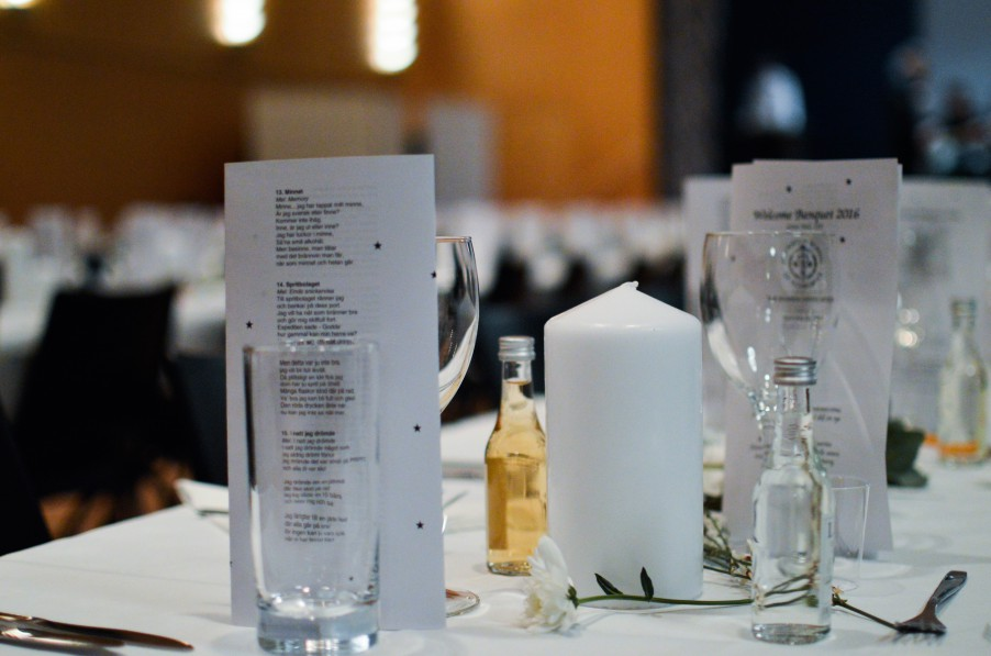 A seat consisted of cutlery, swedish snaps and a list of songs to be sung during the course of the dinner