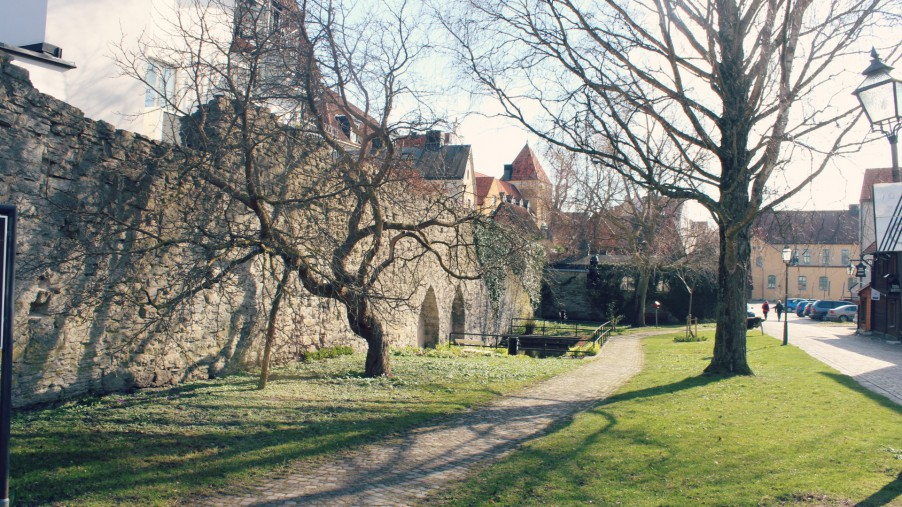 medieval wall in visby gotland