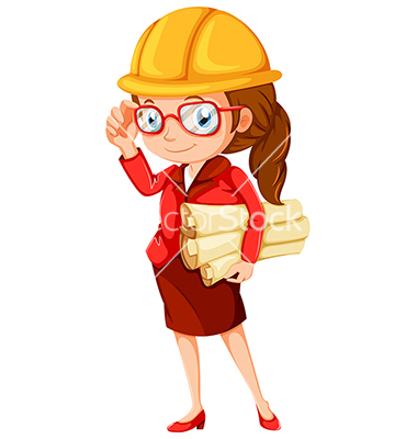 Illustration of a female engineer on a white background