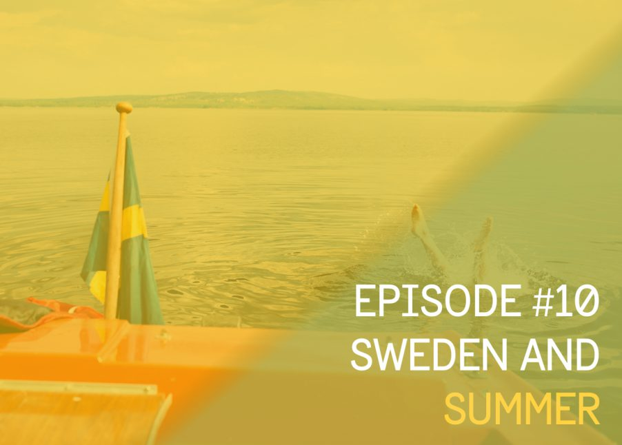Episode cover in a Swedish summer theme with a boat and a person jumping in the water from it
