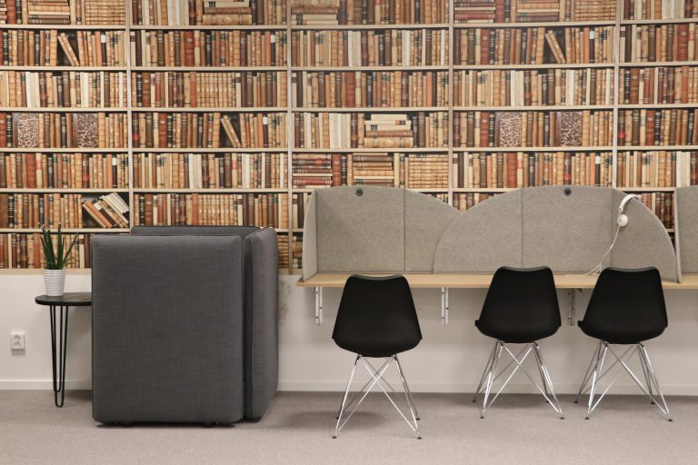 chairs in a library
