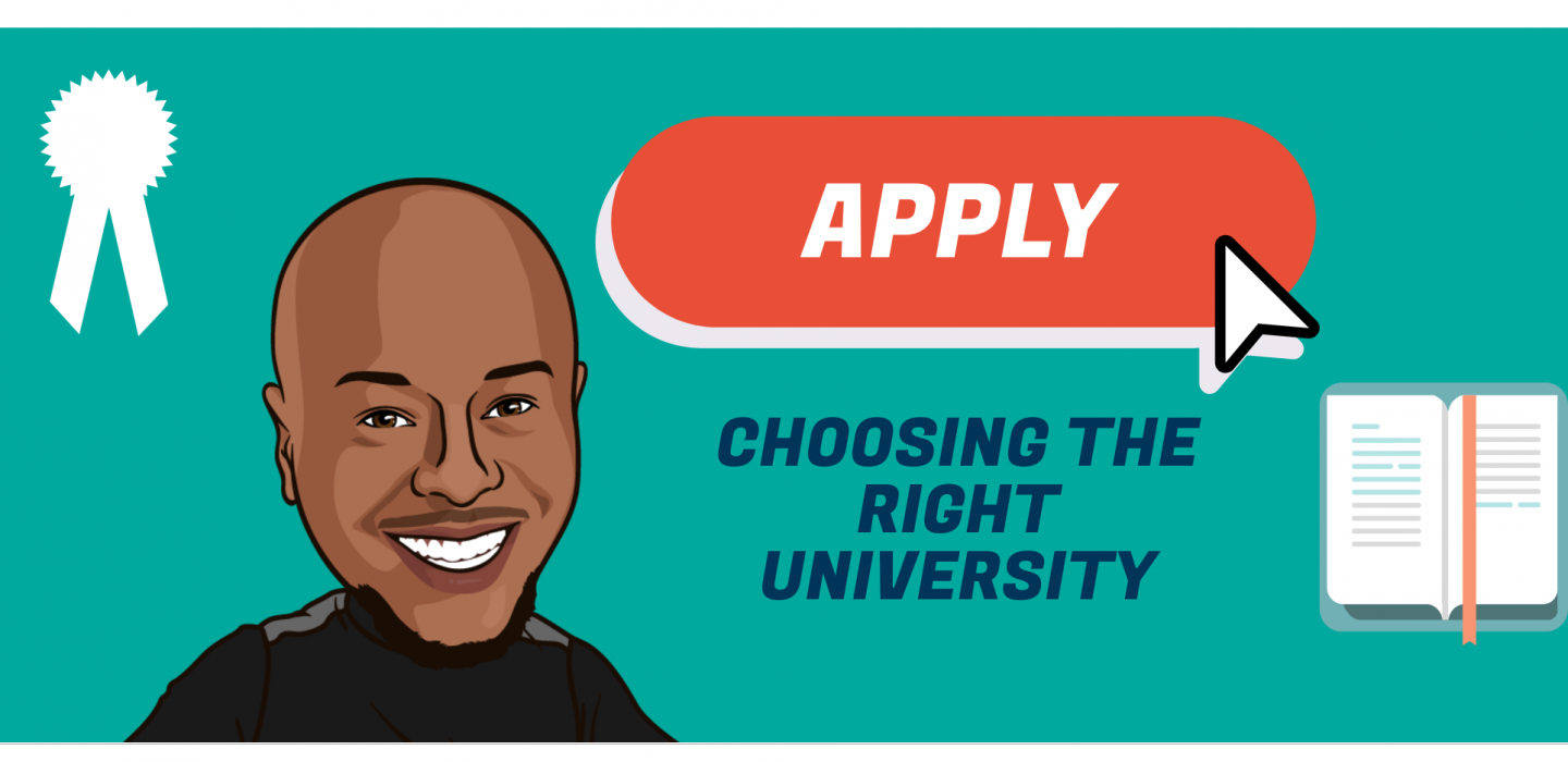 a cartoon image about choosing the right university.
