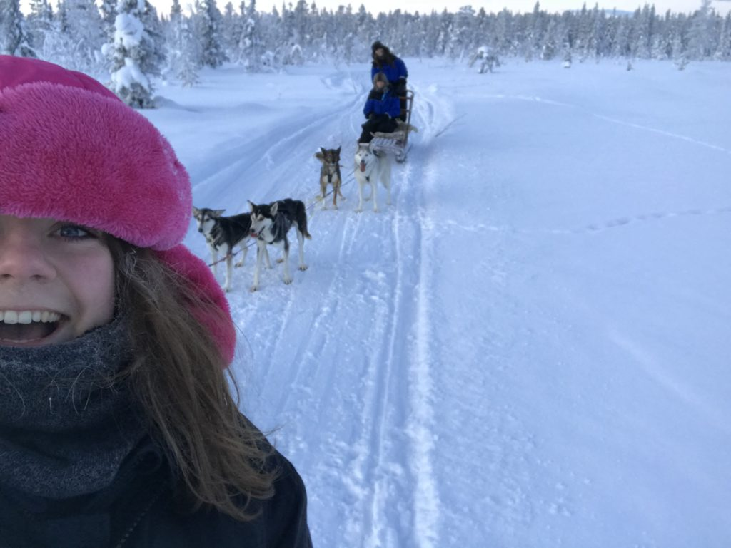 Me being extremely happy about the dog sledding, Source: Inez