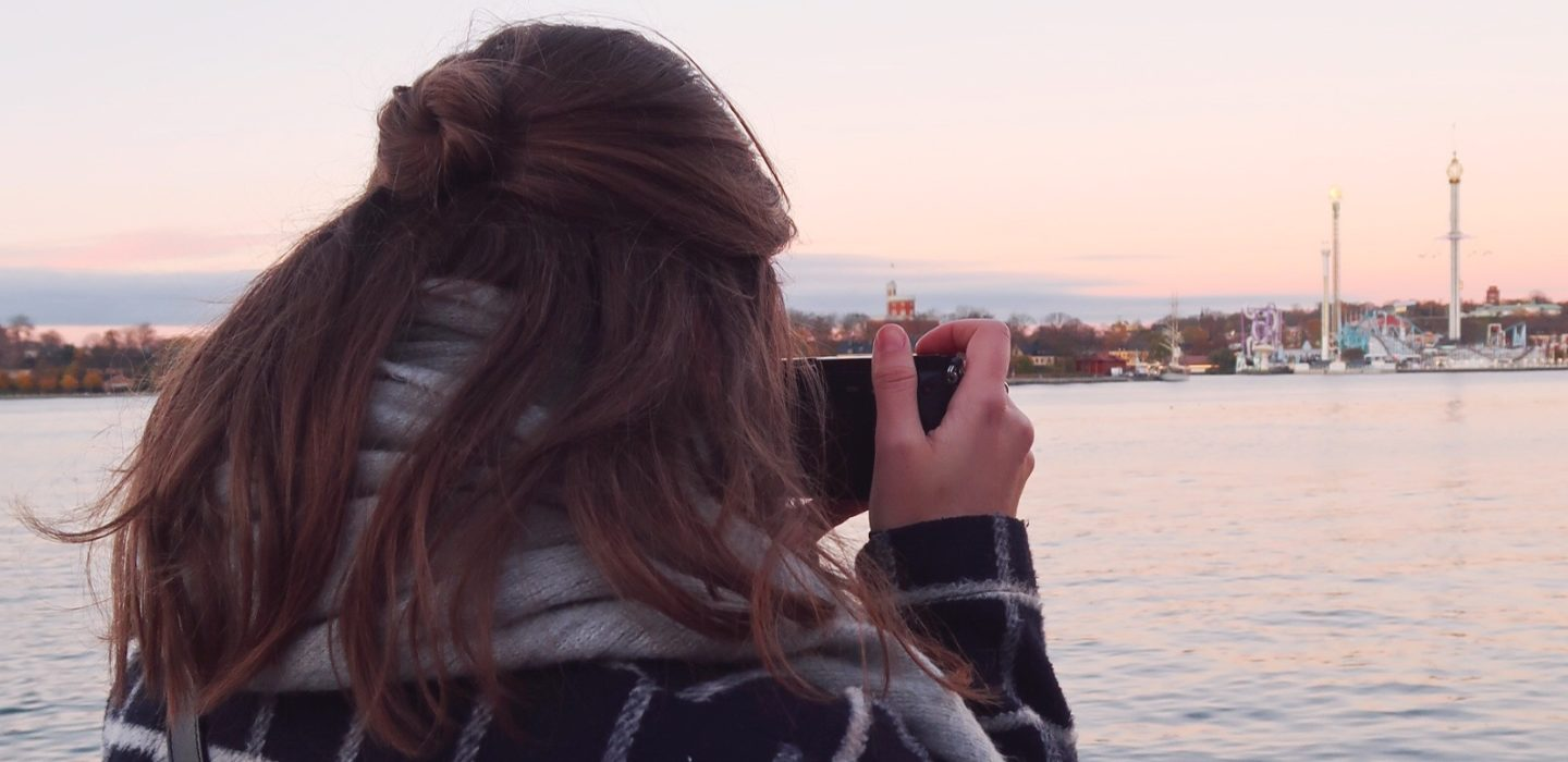 Me taking pictures of Stockholm's beautiful sunset
