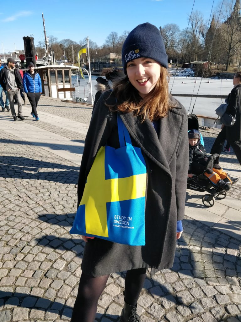 Emma promoting Study in Sweden on the streets of Stockholm!
