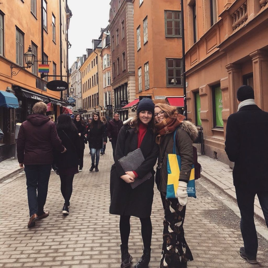 The author (me!) and a pal in Gamla Stan, Stockholm, March 2018
