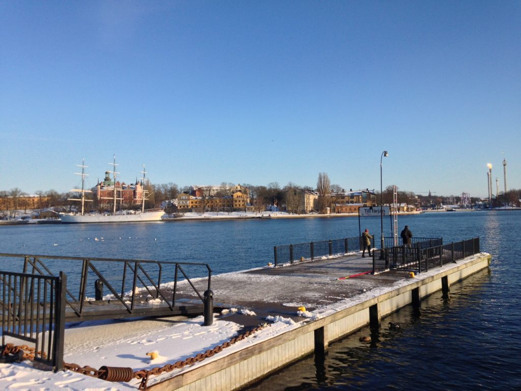 Stockholm water from Slussen ferry stop in January 2018