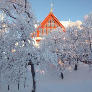 Church in Kiruna, Northern Sweden in January 2018