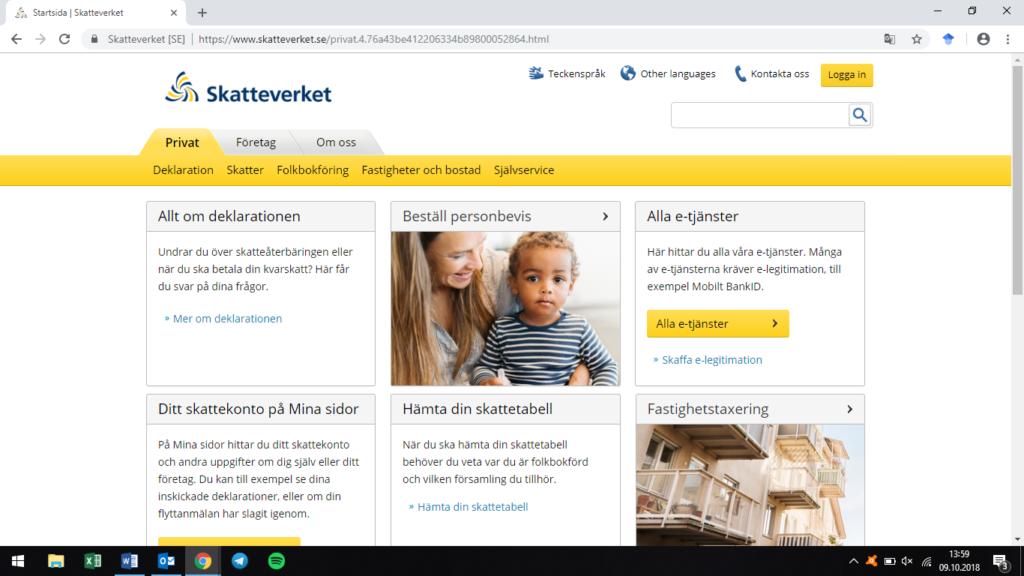 Startpage Skatteverket
