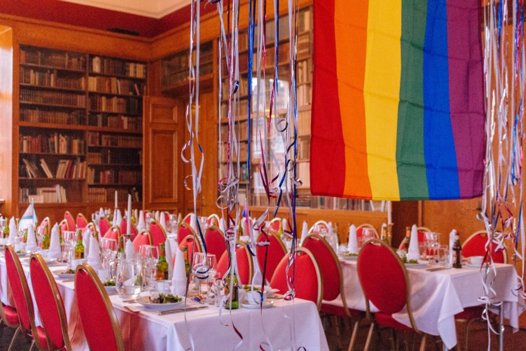 Pride flag and dinner decorations