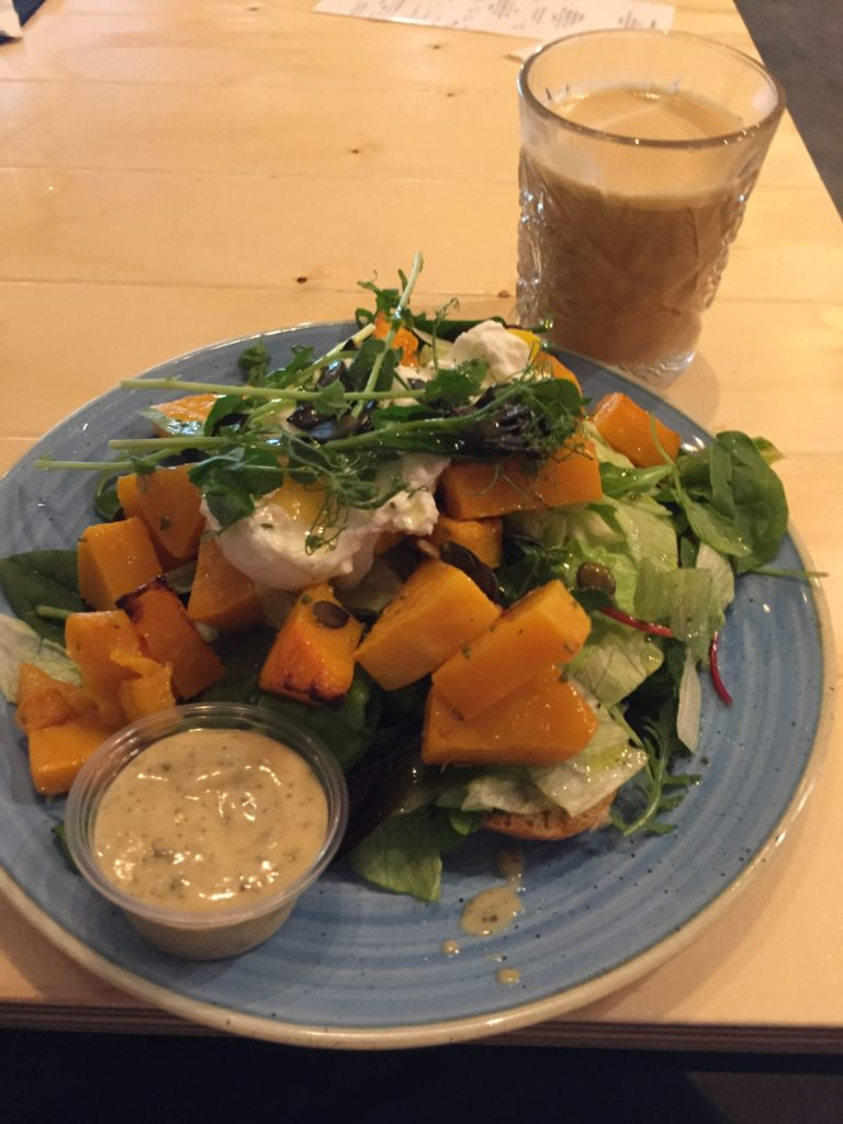 Butternut squash salad and a coffee