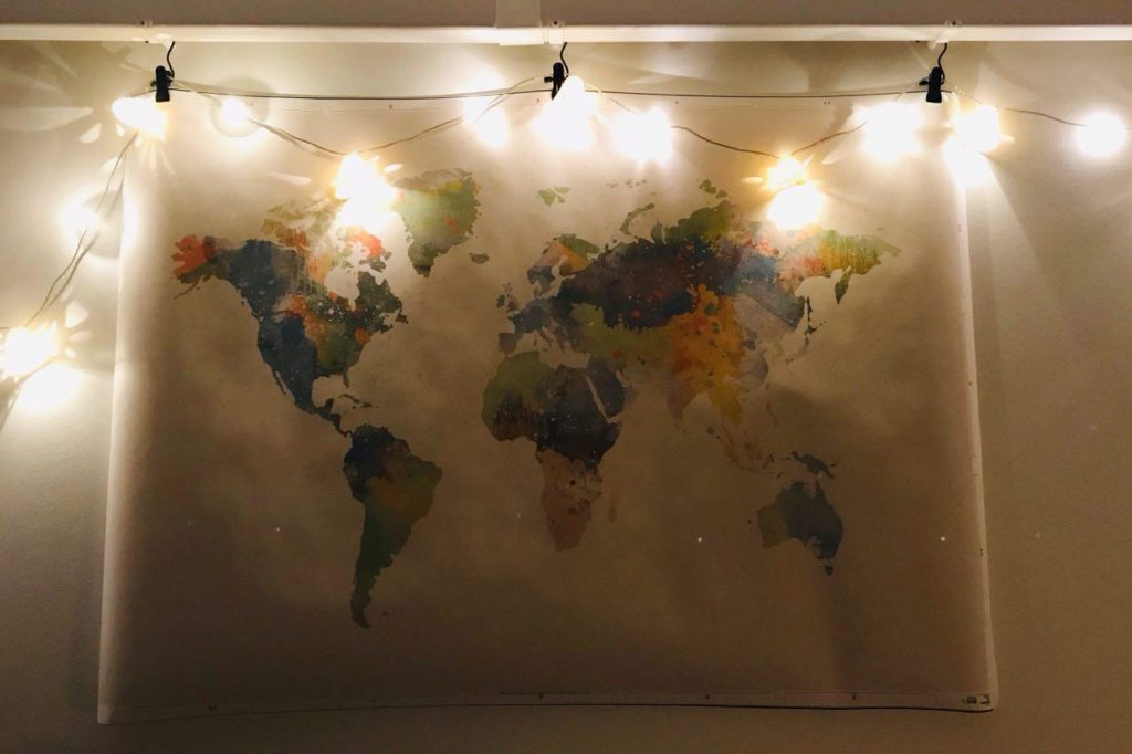 World map & light strings