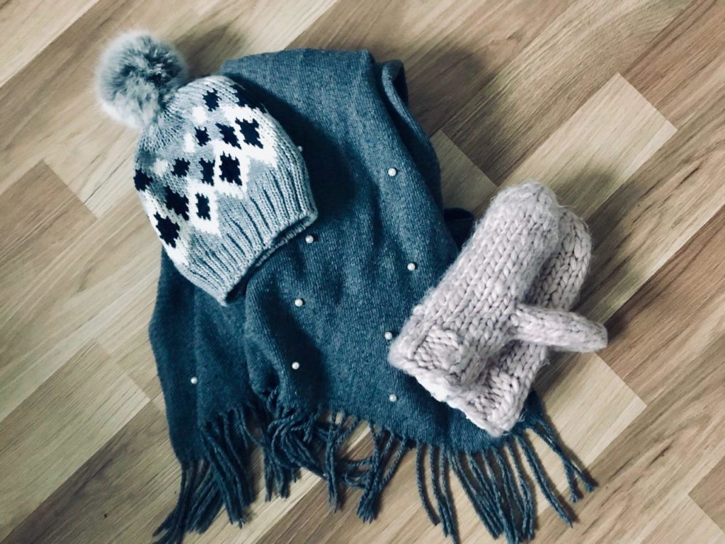warm scarf, beanie & gloves