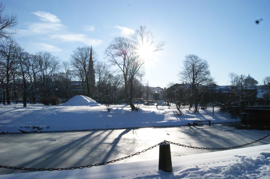 frozen canal in Gothenburg
