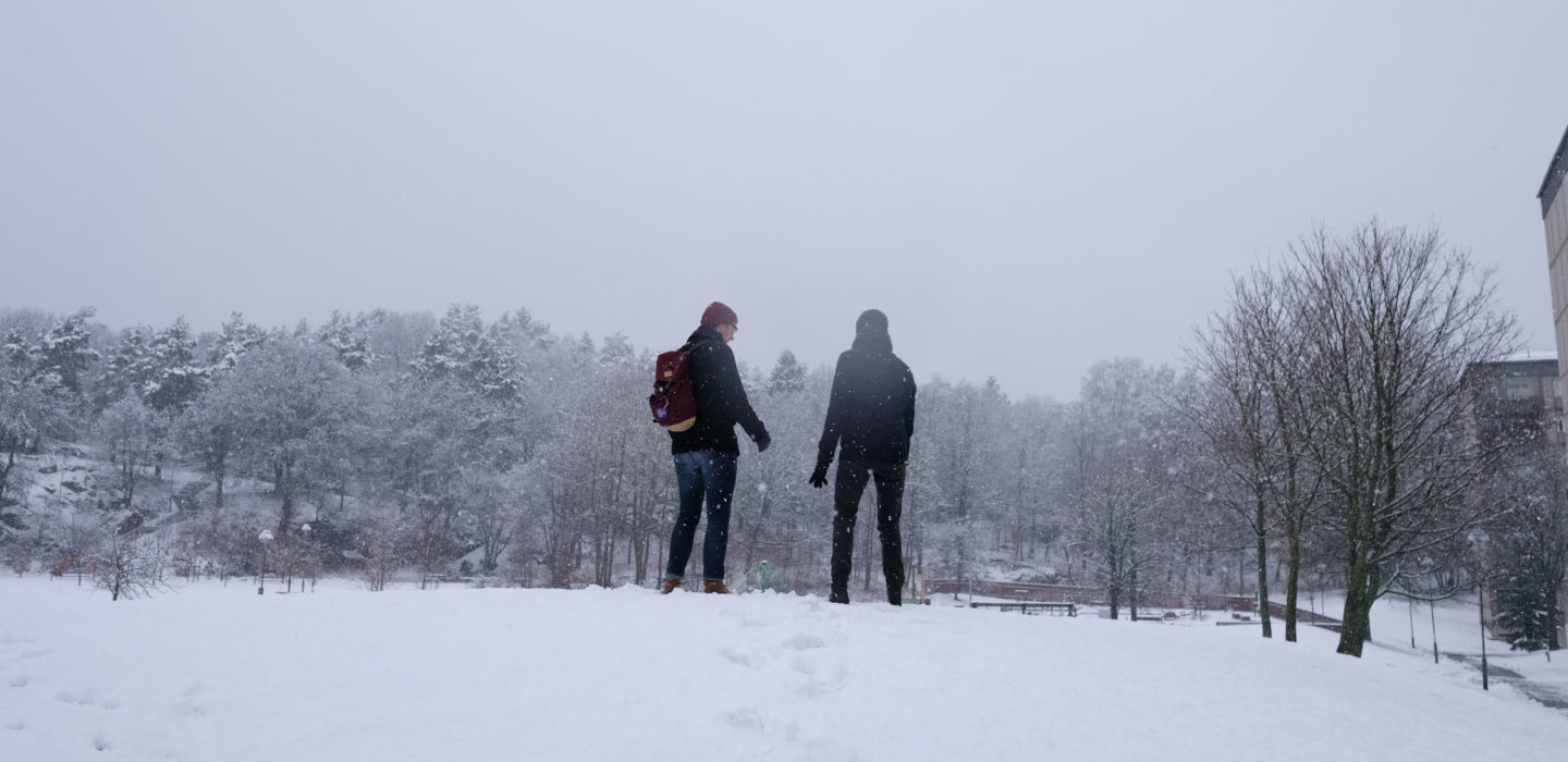 Two people walking in the snow