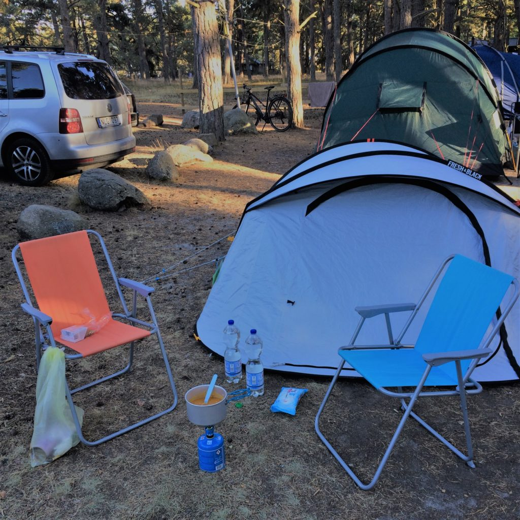tent and chair on a camping spot