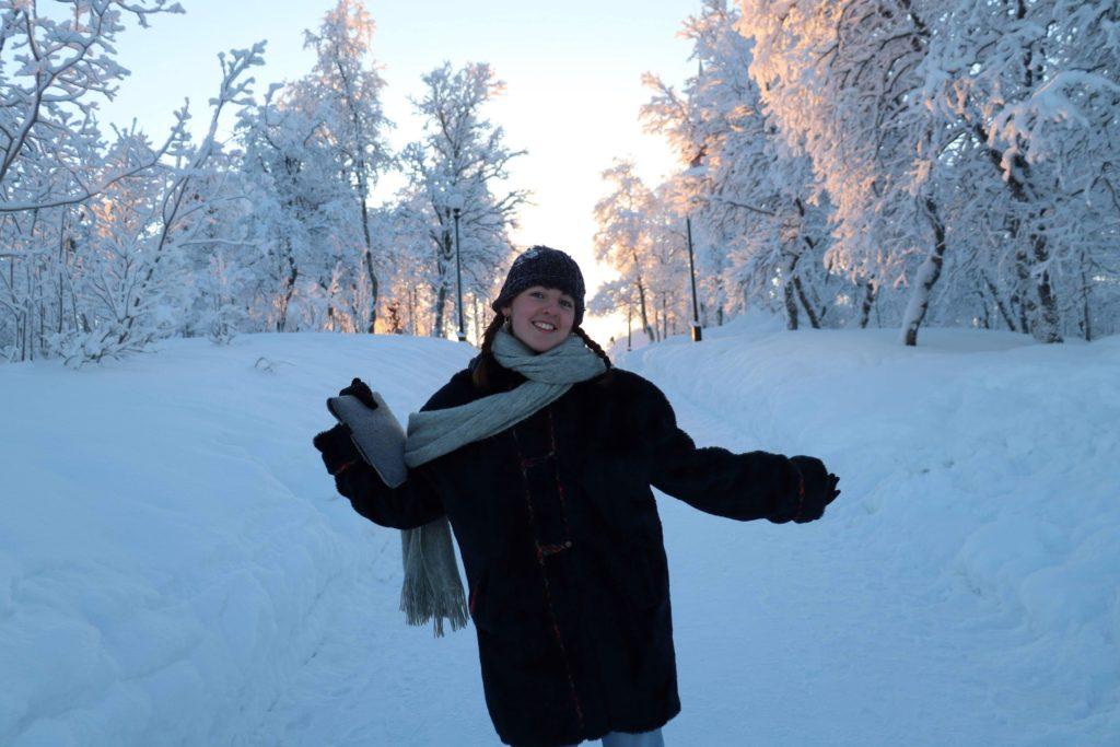 Emma in the snow in Kiruna