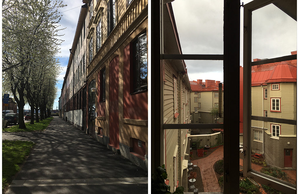 A street near Olskroken and the view of the courtyard from my old apartment in east Gothenburg.