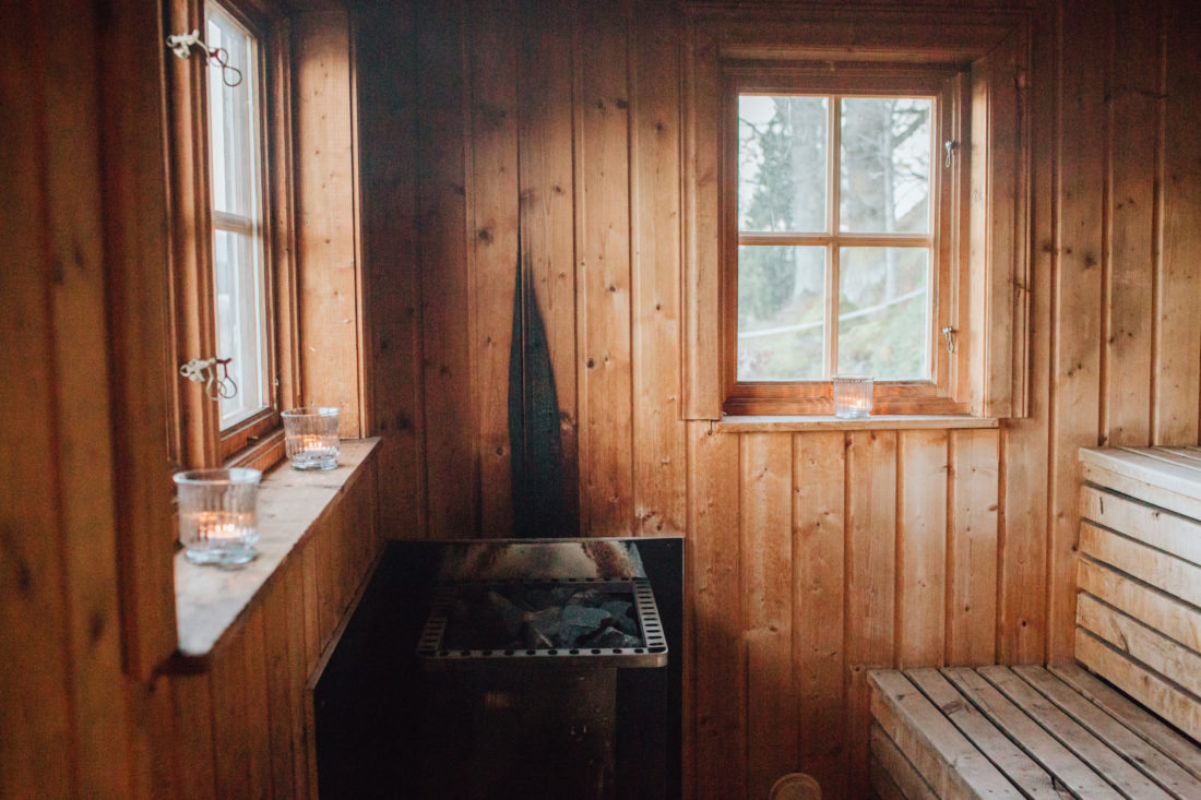 Traditional wooden sauna interior
