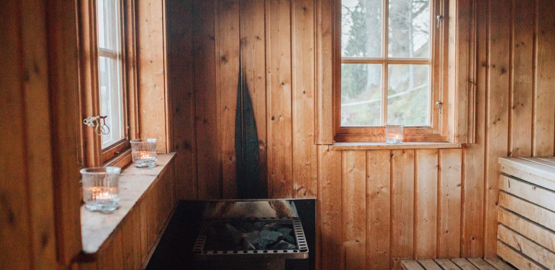 Traditional wooden sauna interior