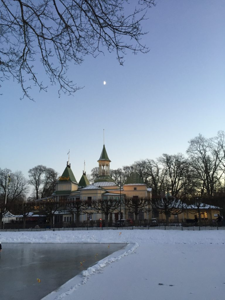 Small frozen lake in Uppsala and the moon