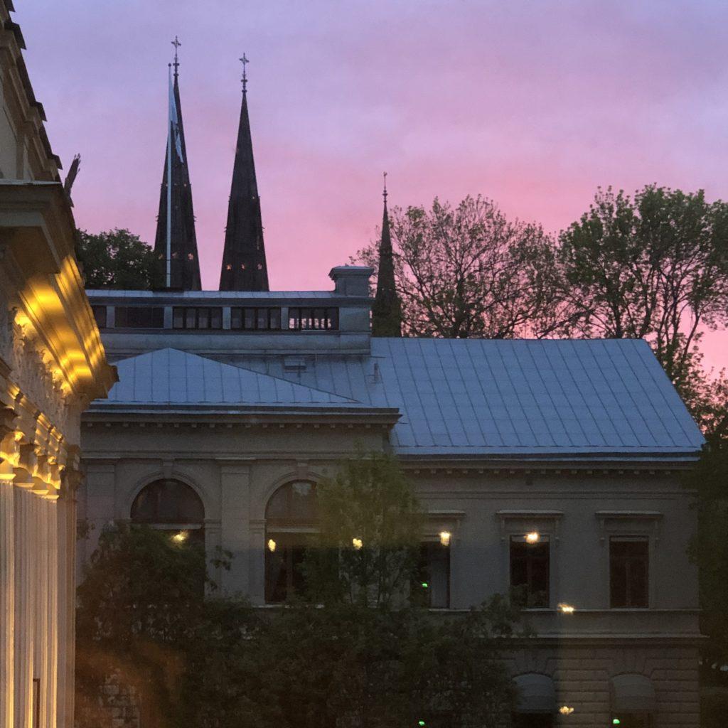 A pink spring sky, Uppsala