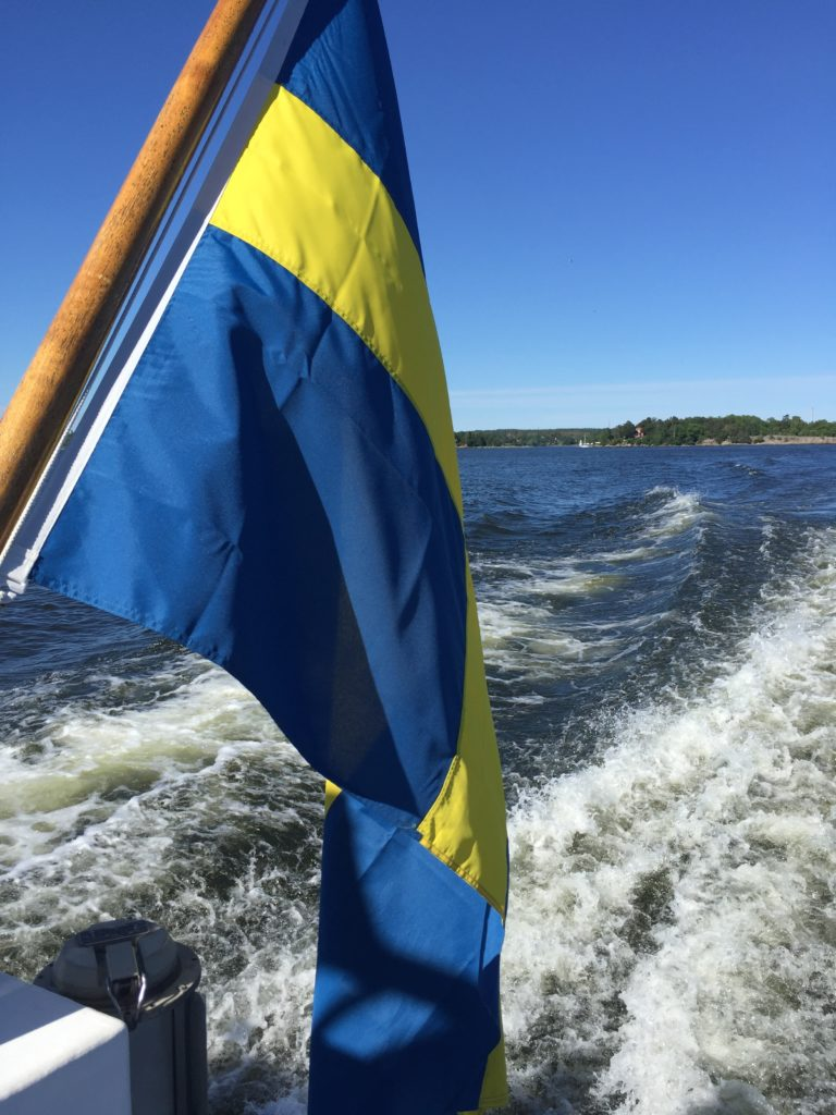 Boat and Swedish flag, 2018