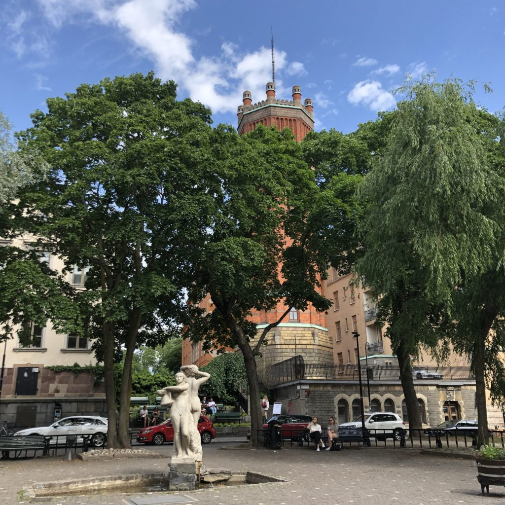 Statues and trees near Södrateatern, Stockholm June 2019