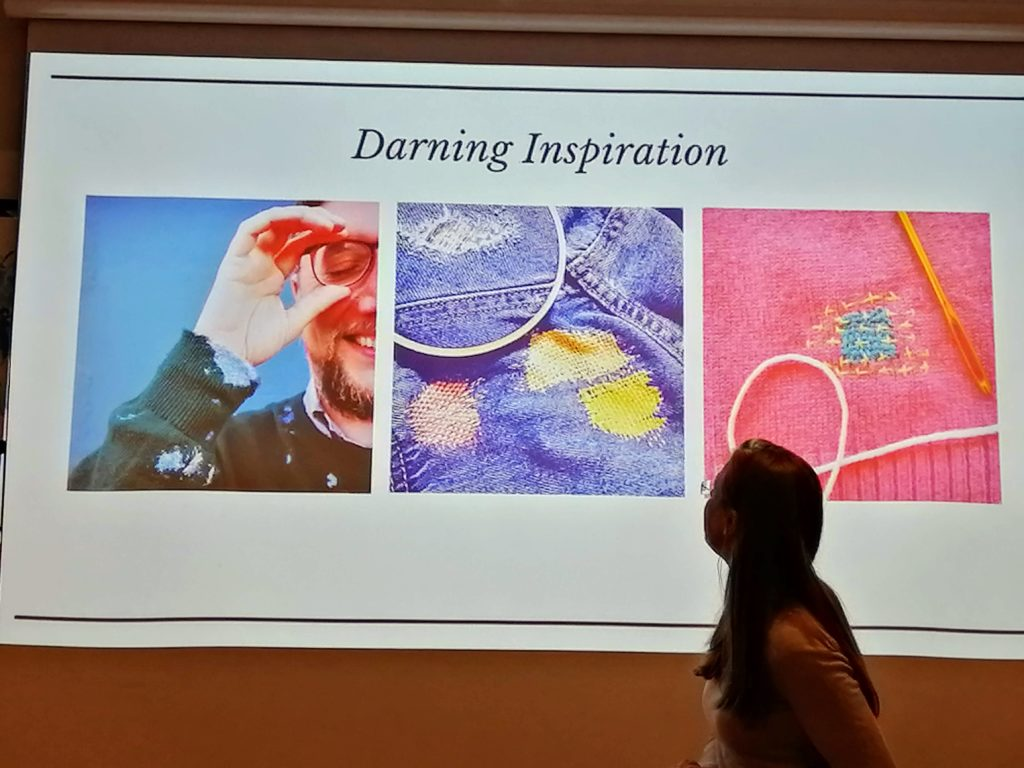 Darning inspiration at 2019 Hållbar Student Handcraft and Mending Workshop