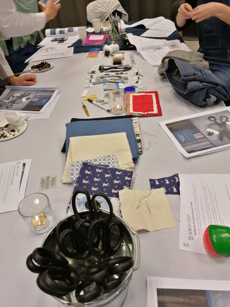 Scissors, fabric, pins, needles and threads at 2019 Hållbar Student Handcraft and Mending Workshop