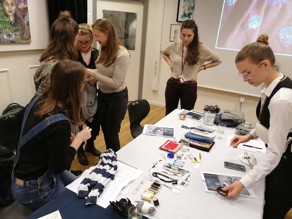 Students busy at 2019 Hållbar Student Handcraft and Mending Workshop
