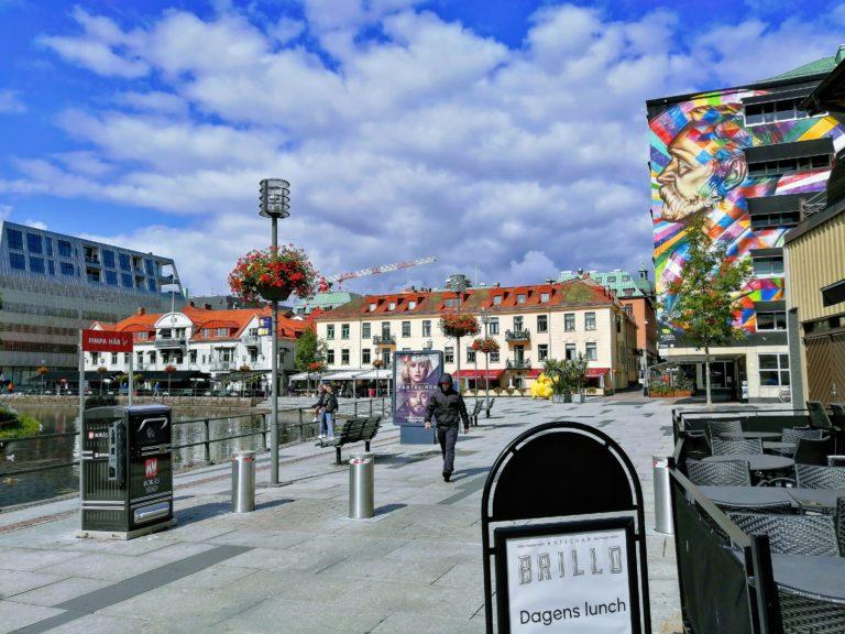 Brightly coloured mural in Borås city centre