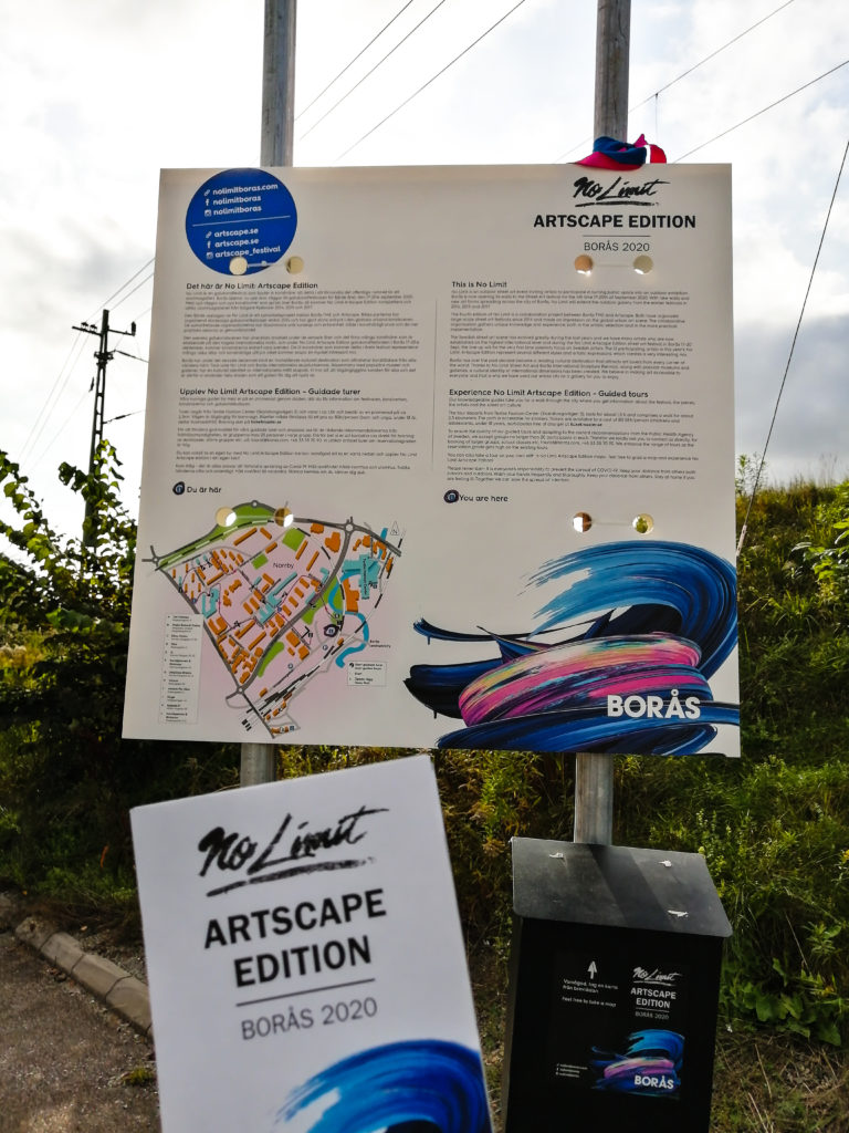 Signs and maps for guided tour of the No Limits Street Art Borås Festival 2020