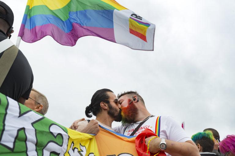 Two men kiss at Pride festival in Gothenburg